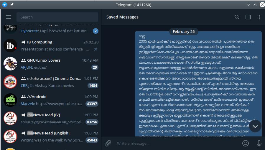telegrama linux